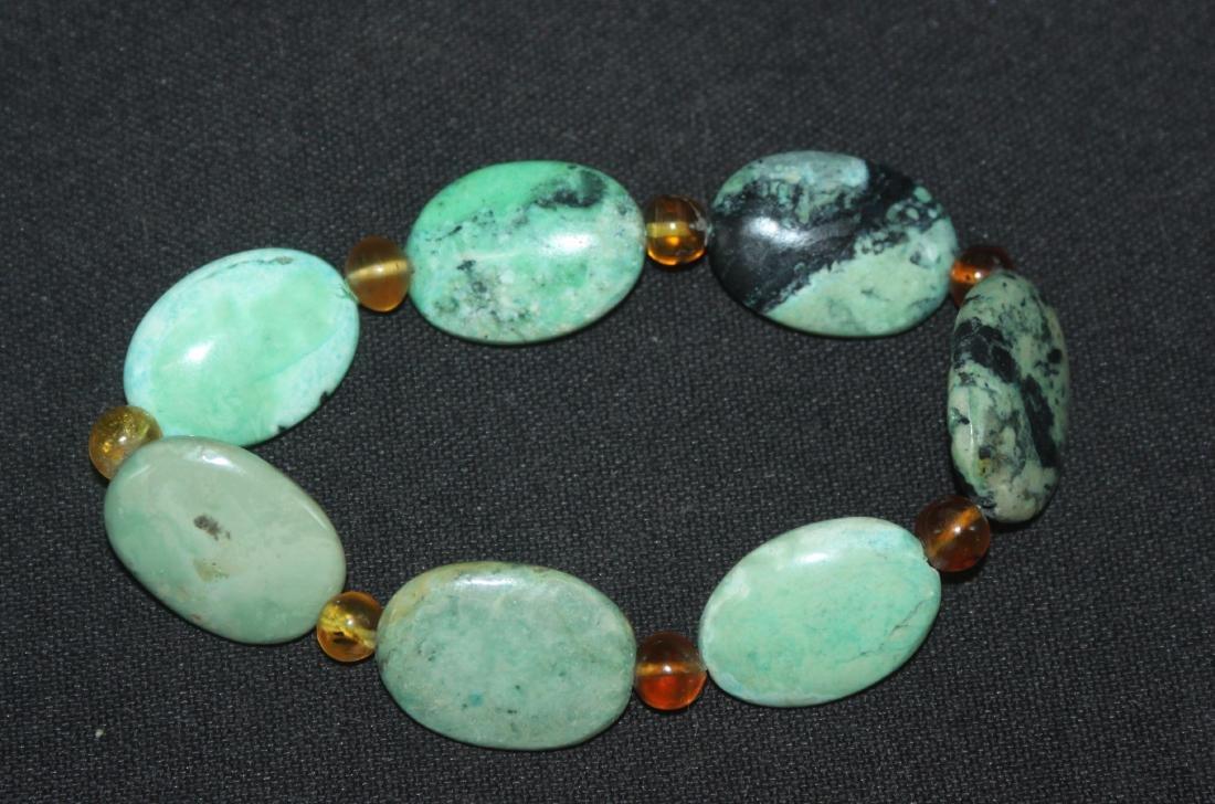 Chinese Tibetan Turquoise & Amber Bead Bracelet - 2