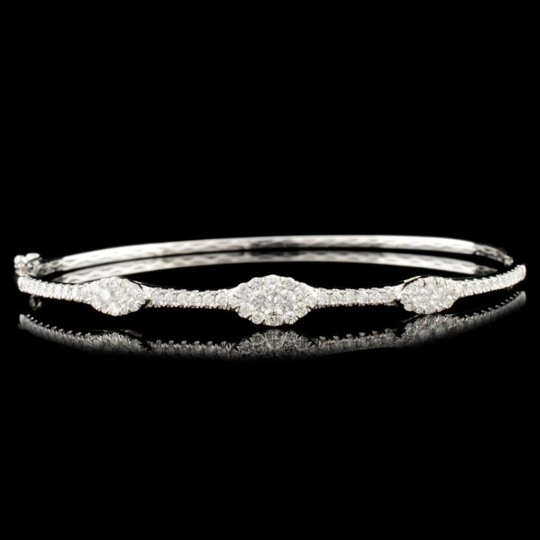 14K Gold 0.97ctw Diamond Bangle