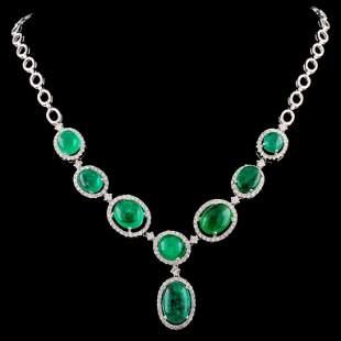 18K Gold 24.76ct Emerald & 2.41ctw Diamond Necklac