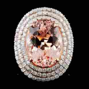 14K Rose Gold 9.97ct Morganite & 1.79ct Diamond Ri