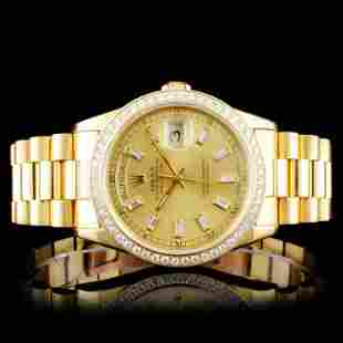 Rolex 18K Day-Date Diamond Wristwatch