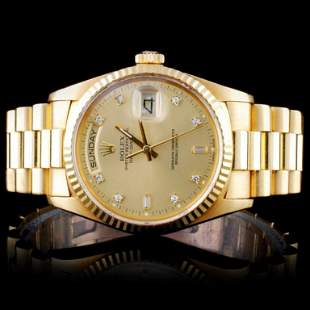 Rolex 18K DayDate Men's Diamond Wristwatch