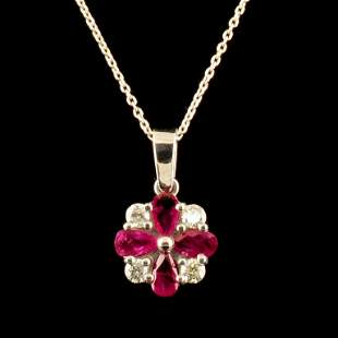 14K Gold 1.50ct Ruby & 0.20ct Diamond Pendant