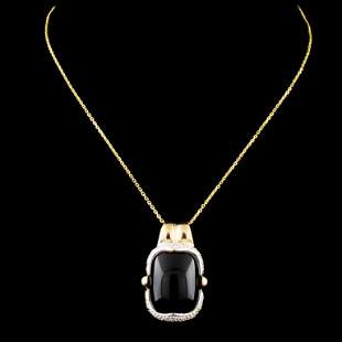 14K Gold Onyx & 0.19ctw Diamond Pendant