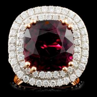 18K Gold 8.65ct Tourmaline & 1.44ctw Diamond Ring