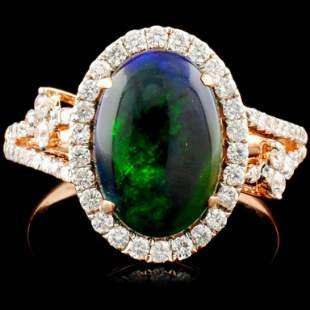 14K Gold 2.00ct Opal & 0.55ctw Diamond Ring