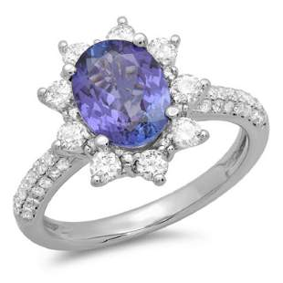 14K Gold 2.00ct Tanzanite & 0.75ct Diamond Ring