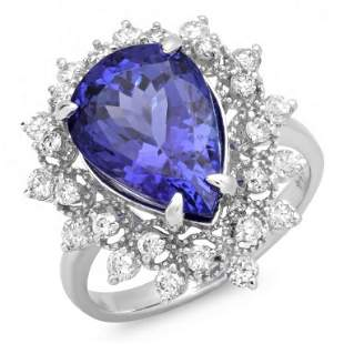 14K Gold 4.00ct Tanzanite & 0.75ct Diamond Ring