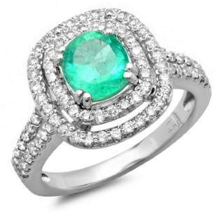 14K Gold 1.50ct Emerald & 0.75ct Diamond Ring
