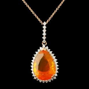 14K Gold 7.55ct Opal & 0.59ctw Diamond Pendant