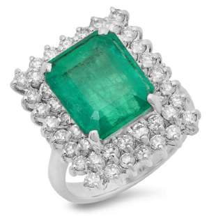 14K Gold 6.50ct Emerald & 1.50ct Diamond Ring