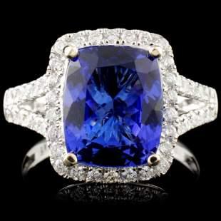 18K Gold 3.89ct Tanzanite & 0.54ctw Diamond Ring
