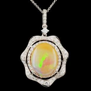 14K Gold 5.22ct Opal & 0.95ctw Diamond Pendant