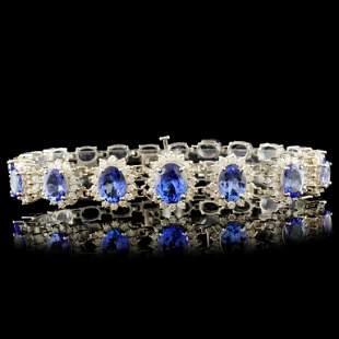 14K Gold 29.40ct Tanzanite & 2.60ctw Diamond Brace