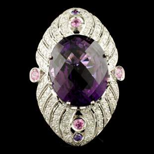 14K Gold 25.88ct Amethyst & 1.65ctw Diamond Ring