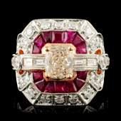 18K Gold 1.14ct Ruby & 2.05ctw Diamond Ring