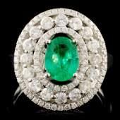 18K Gold 0.66ct Emerald & 1.02ctw Diamond Ring