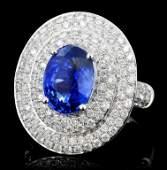 18K White Gold 3.01ct Sapphire & 1.27ct Diamond Ri