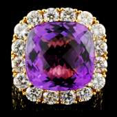 18K Gold 12.00ct Amethyst & 4.89ctw Diamond Ring