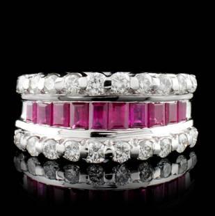 18K White Gold 1.66ct Ruby & 0.86ct Diamond Ring