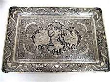 """2010: Magnificent 20"""" Persian Silver Metal Serving Tray"""