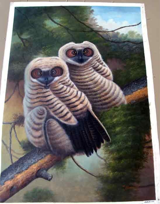 1291: Two Snowy Owls on Tree in Forest Oil Painting