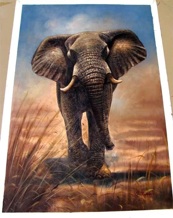 1292: African Bull Elephant Charging Oil Painting