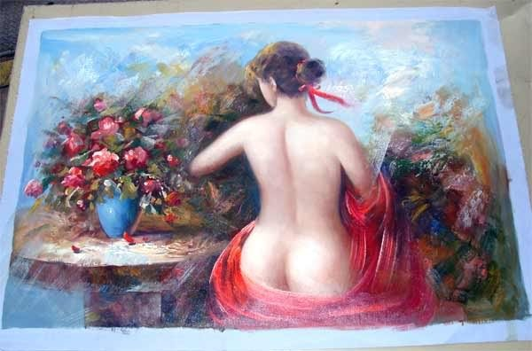 1293: Nude Woman w Floral Bouquet Original Oil Painting