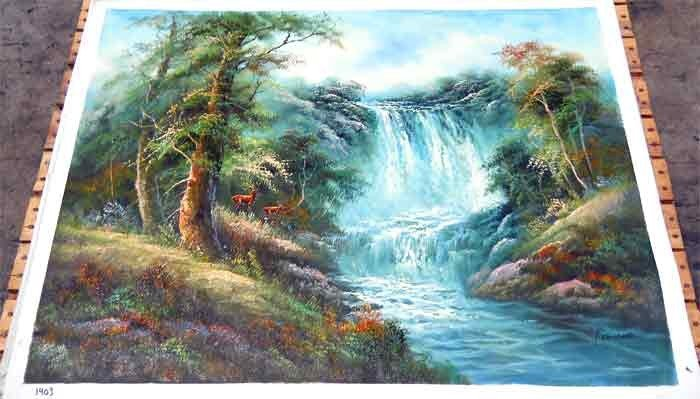 1294: Deer Summertime Scene by Waterfall 30X40 Original