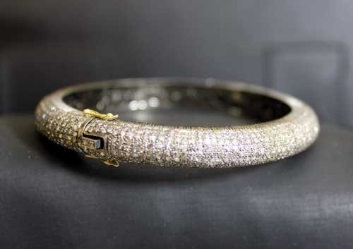 1295: Antique Diamond Bangle Bracelet 7Ct Diamonds Gold