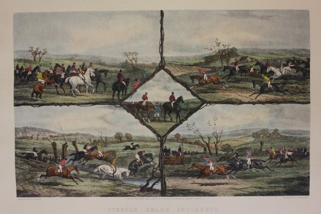 1202: Steeple Chase Incidents Hand Color Engraving WJ S
