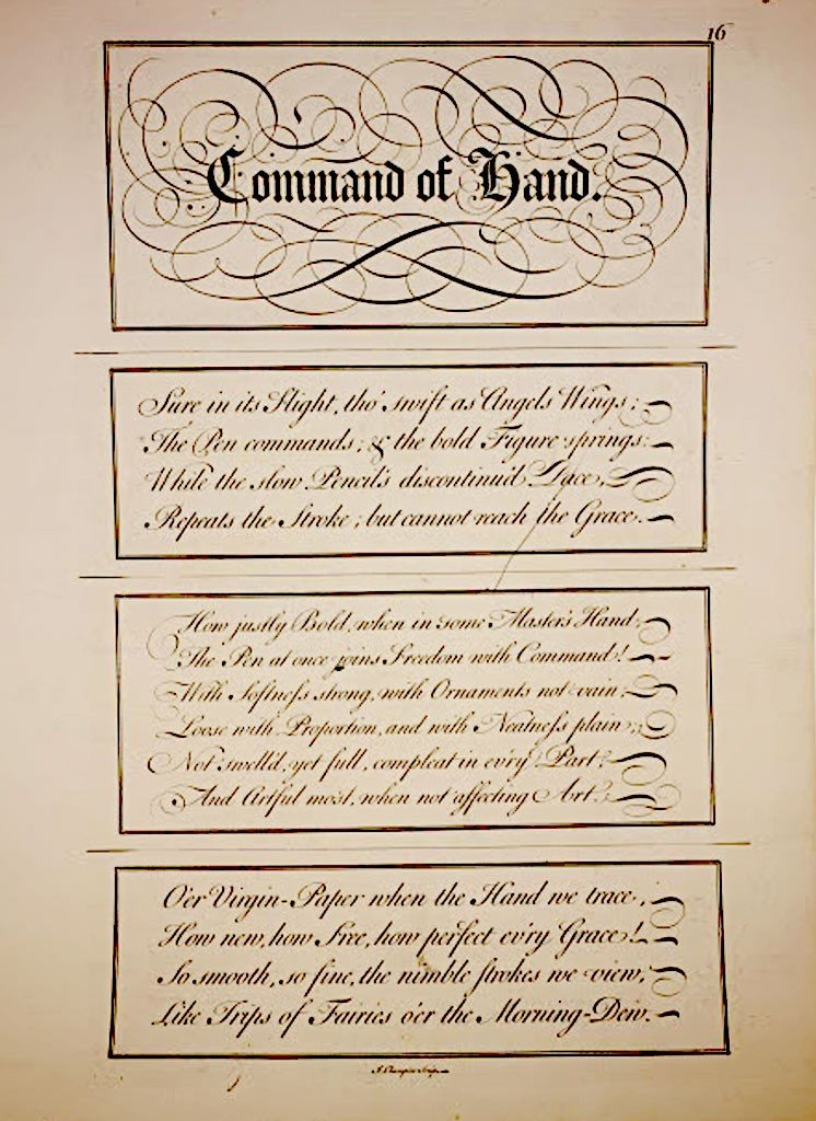 "Calligraphy Engraving C1740 ""command Of Hand"" By J Cham"