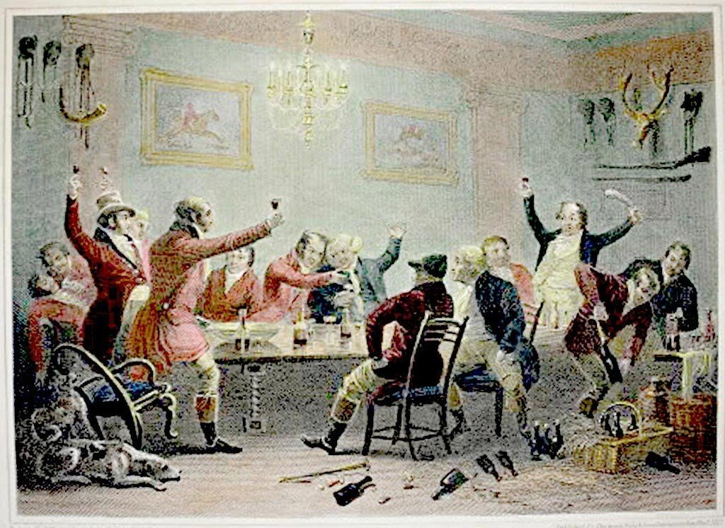 """fox Hunters Regaling"" Color Engraving C1827 By Luke Cl"
