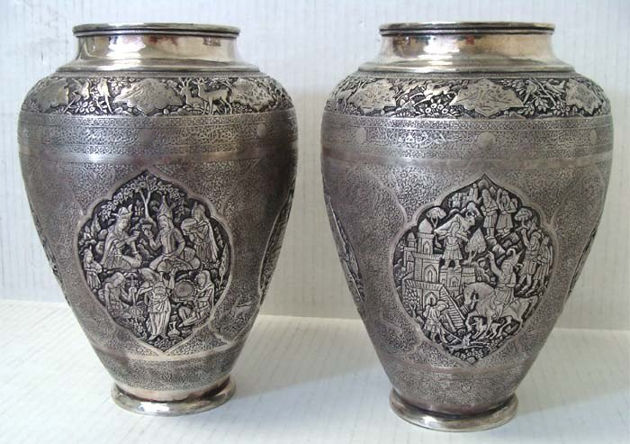 Pair Persian Antique Silver Metal Vases Engraved
