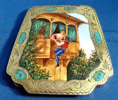 Antique Persian Silver Enamel Compact c1920's