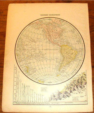 Colored Antique Map World & Western Hemisphere 1898