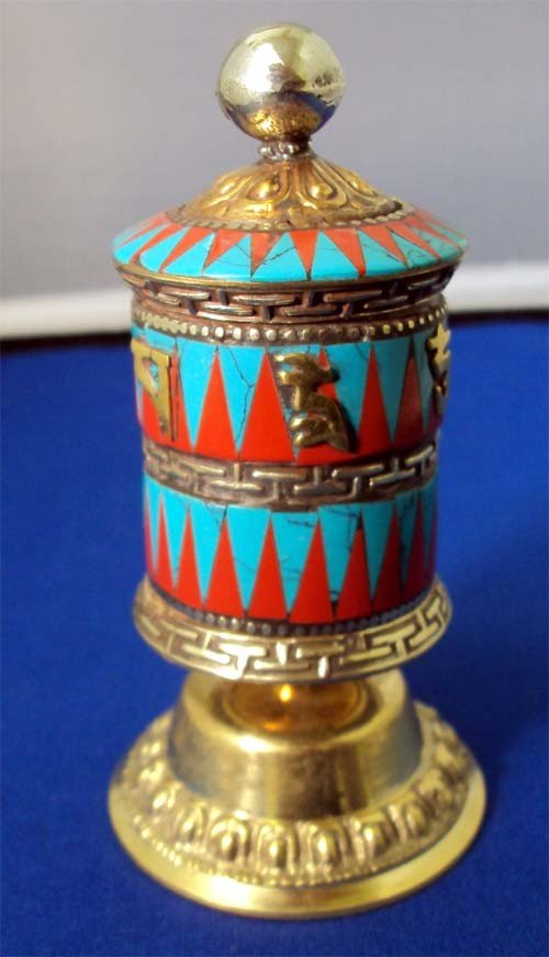 Tibetan Buddhist Table Prayer Wheel Turquoise & Coral