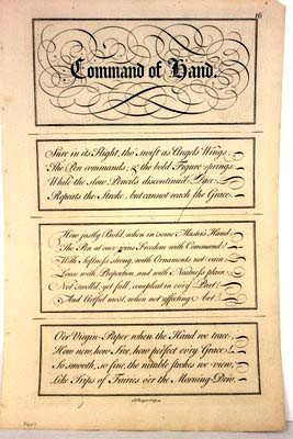 """Calligraphy Engraving C1740 """"command Of Hand"""" By J Cham"""