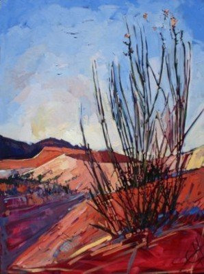 """Coral Pink Grass Oil Painting By Erin Hanson 40"""""""