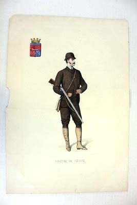 """""""costume De Chasse"""" Hand Colored Engraving Late 19th Ce"""