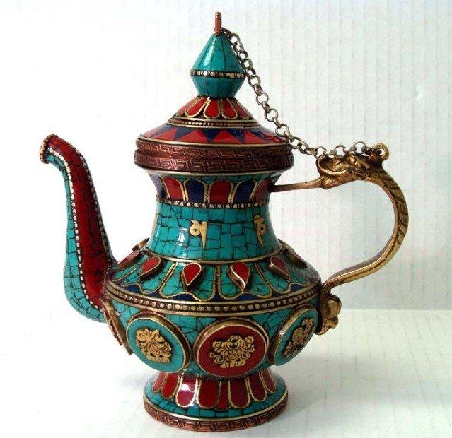 Nepalese Buddhist Decorated Ceremonial Teapot