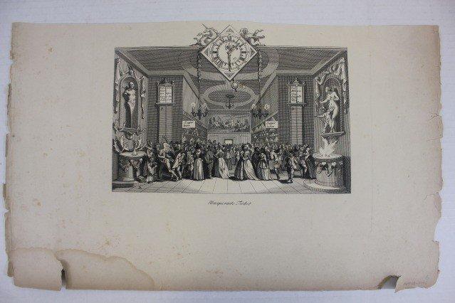 "1199: Masquerade Ticket"" Black & White Engraving 19th C"