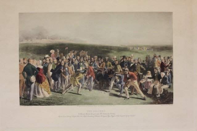 """1203A: """"The Golfers"""" Hand Color Engraving after Charles"""