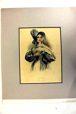 """a Friend"" Original Stone Lithograph Hand Colored 19thC"