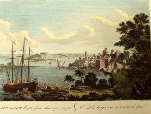 View of Brindisi Color Lithograph by Pietro PARBONI