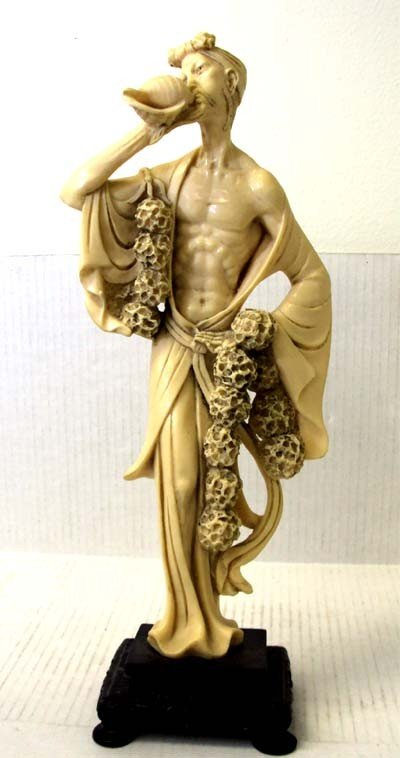 Carved Bone Figurine Man In Robe Blowing Conch Shell