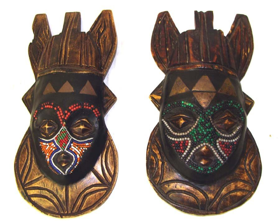 Pair African Carved Wood Masks w Beadwork