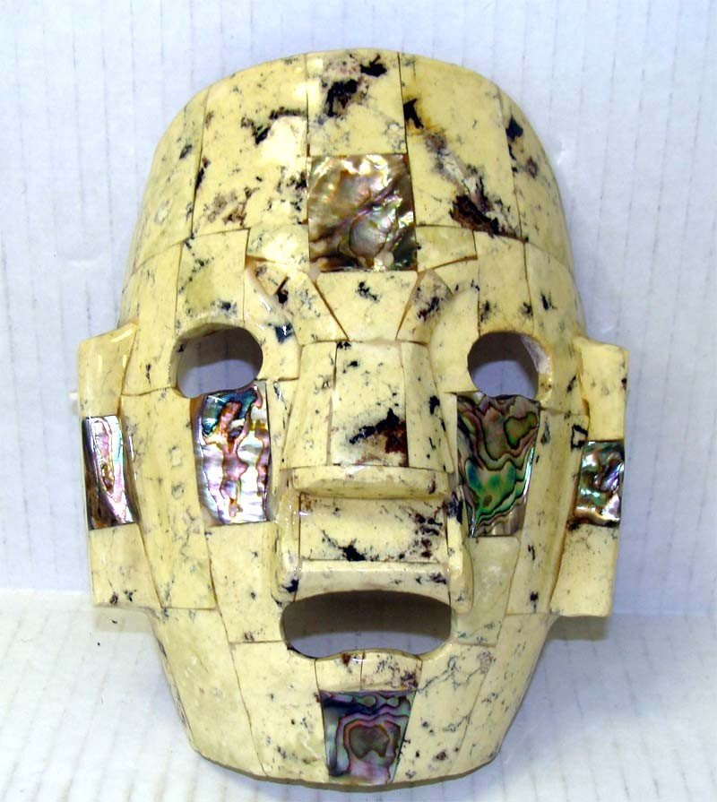 Inca Ceramic Mask w Mother of Pearl Inlays