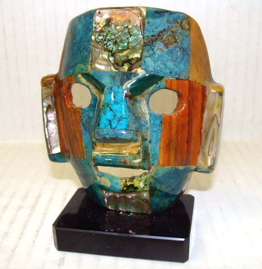 Mosaic Turquoise & Mother Pear Inca Mask on Black base