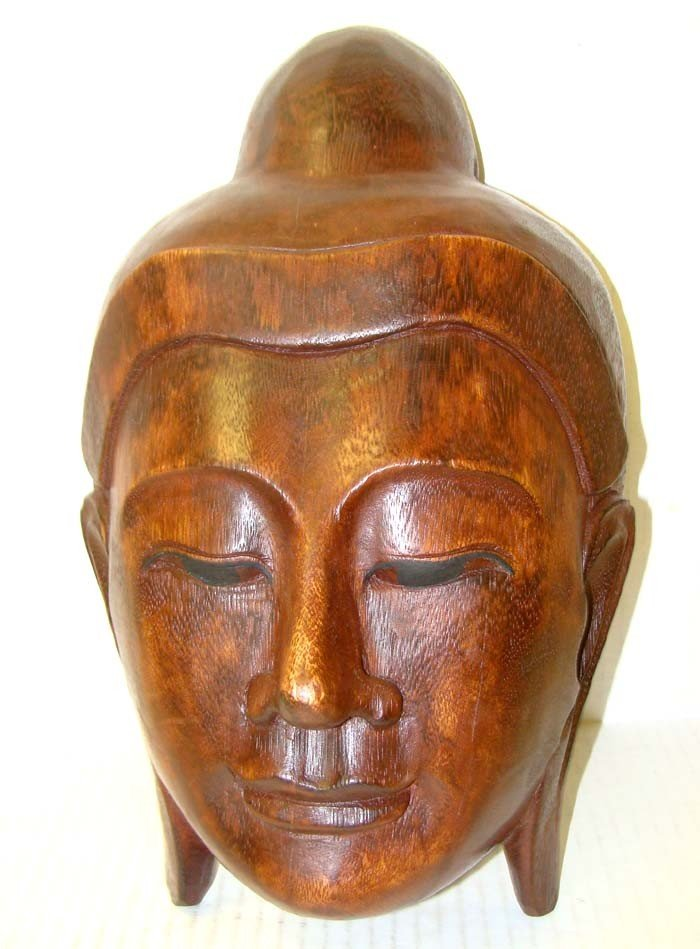 Antique Nepal Buddah Mask Carved Natural Wood 13""